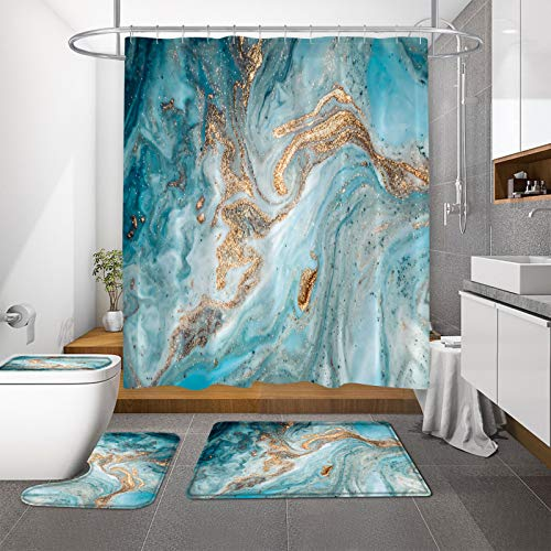 MitoVilla Green Teal Marble Shower Curtain Set with Bathroom Rugs Mats and Toilet Lid Cover, Peacock Turquoise Gold Bathroom Sets with Shower Curtain and Rugs and Accessories for Green Bathroom Decor