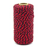 100M/328Feet Cotton String,Black and Red String, Cotton Cord Craft String Baker Twine for DIY Crafts and Gift Wrapping-2mm