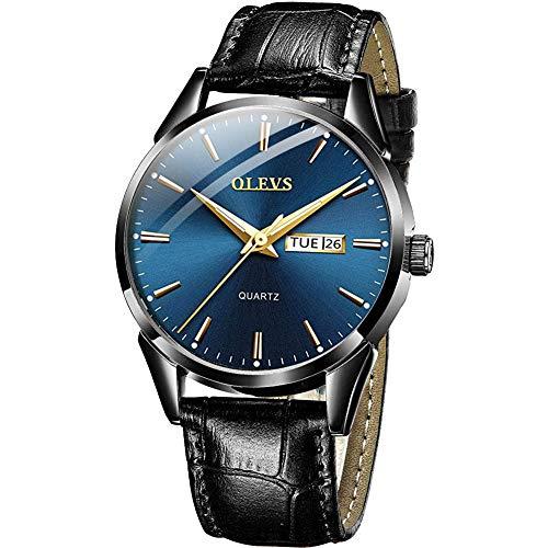 OLEVS Men Watch Black Leather Strap Large Blue Face Analog Quartz Classic Dress Date Luminous Waterproof Gents Wrist Watch