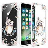 Caka iPhone 7 Case, iPhone 8 Clear Floral Case Flower Pattern Floral Series Slim Girly Anti Scratch Excellent Grip Premium Clarity TPU Crystal Case for iPhone 7 iPhone 8 4.7 inch (Owl)