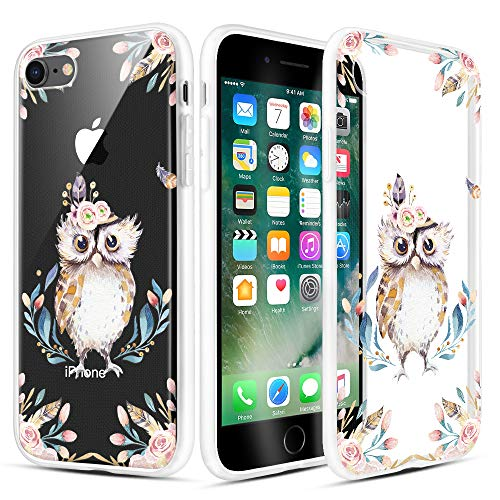 """Caka iPhone SE 2020 Case Clear Design, iPhone 7 Case iPhone 8 Case Clear Floral Flowers Pattern for Women Girls Girly Slim Soft TPU Transparent Protective Case for iPhone SE 2020 7 8 4.7""""- Owl"""