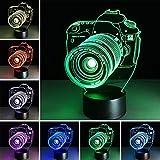 Camera 3D Night Light 7 Colors Change Night Light Touch Button Creative Design Decorative Lighting Effect Lamp (Camera)
