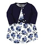 Touched by Nature Baby Girls' Organic Cotton Dress and Cardigan, Navy Floral, 9-12 Months