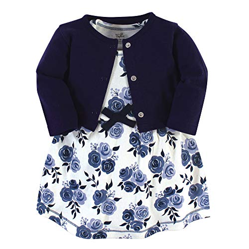 Touched by Nature Baby Girls Organic Cotton Dress and Cardigan, Navy Floral, 9-12 Months