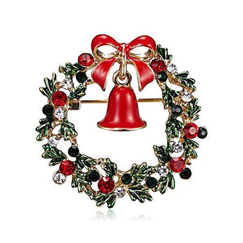 Cadoline Oro-Tono 4.0 x 4.0cm Oro Natale Ghirlanda Nastro Campana Cristallo Agrifoglio Verde Rosso Spilla Pin