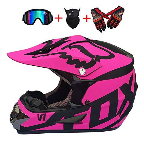 DHShop Motocross-Helm und Schutzbrille (4 Stück) - Schwarz und Blau - Erwachsener Off-Road,Overall-Mountainbike-Helm, Motorrad-Cross-Helm,...