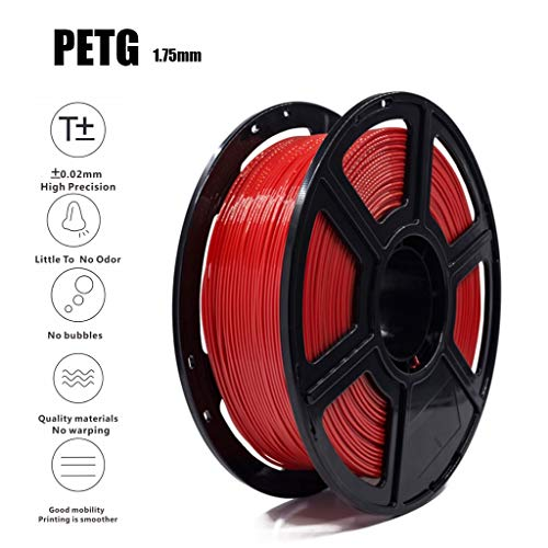 PETG Supplies Red Color 3D Printer Filament 1.75 1KG with ± 0.02mm PrecisionNon-Toxic Eco-Friendly Consumables for Most 3D Printers