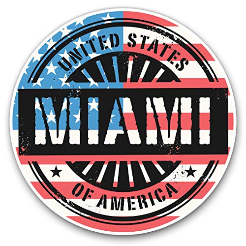 Vinyl Stickers (Set of 2) 10cm - Miami Florida USA American Flag Decals for Laptops,Tablets,Luggage,Scrap Booking,Fridges, 6068