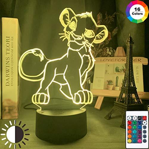 Le Roi Lion Simba Figure Bébé Veilleuse LED Capteur Tactile Couleur Changeante Veilleuse pour Enfants Enfant Chambre Lampe de Table 3D