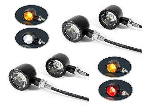 Nero CNC Alluminio Billet Integrato Moto LED Stoplights, Fari Posteriori, Guida Luci DRL e Frecce Set di 4