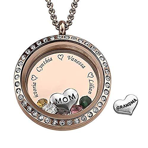 Bofum Personalisierte schwimmende gravierte Charm Medaillon für Mama oder Oma mit Birthstones-Gravur Halskette mit bis zu 5 Namen