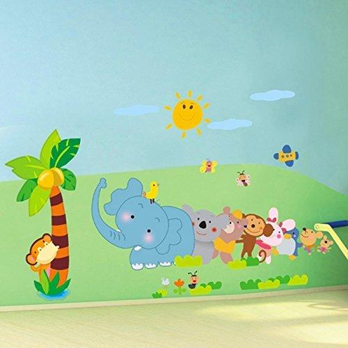 Binmer (TM) DIY enfant Décoration de chambre Dessin animé Animal Elephant Arbre PVC Stickers muraux Home Decor
