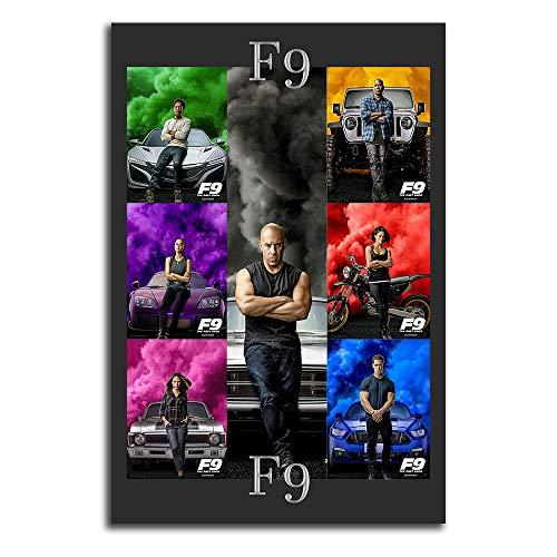 Trelemek Fast & Furious 9 - Lienzo decorativo para pared (30,5 x 45,7 cm), diseño de Vin_Diesel Michelle_Rodriguez