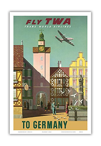 Germany - Fly TWA Trans World Airlines - Vintage Airline Travel Poster by S. Greco c.1950s - Master Art Print - 12in x 18in -  Pacifica Island Art, Inc., PRTB3066