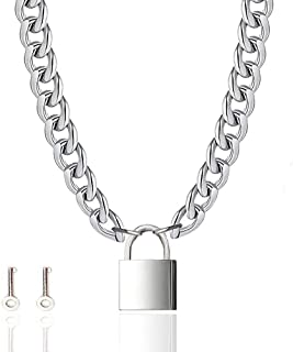 Lock Necklace Chain Stainless Steel Necklace Padlock Necklace for Men Women