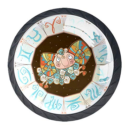 Horoskop Icon buntes Kristallglas Schrank Kleiderschrank Schublade Tür Pull Griff (4 Stück)