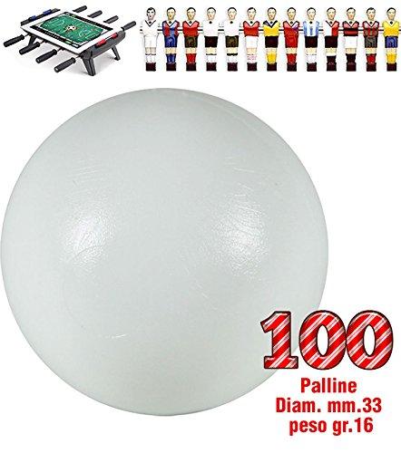 Renzline by Longoni Calcio Balilla Set di 100 Palline universali HS, Prima Scelta, Colore Bianco, Diametro mm.33, Peso gr.16. Rotondita e Peso controllati.