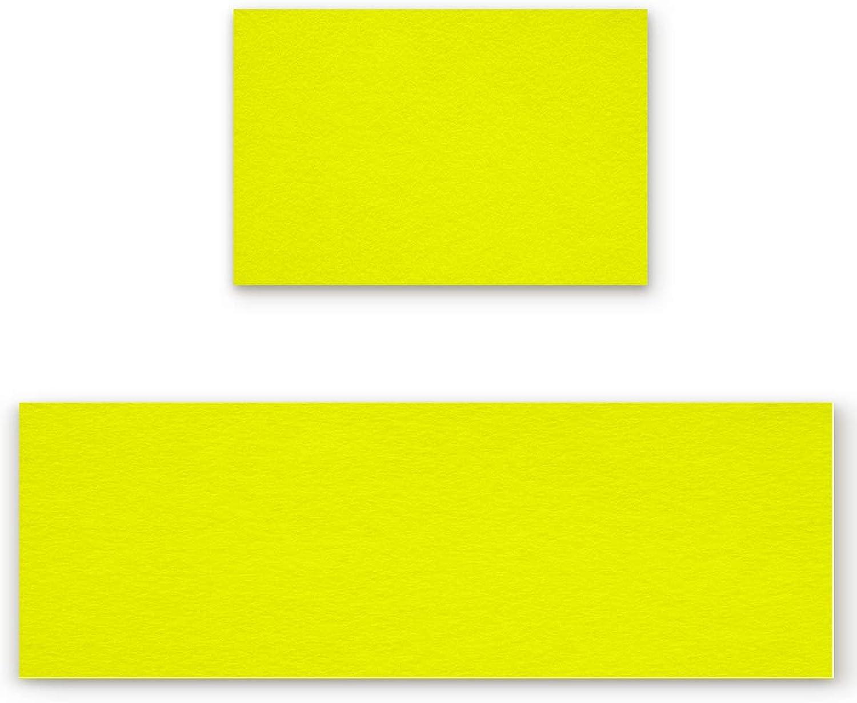 Savannan 2 Piece Non-Slip Kitchen Bathroom Entrance Mat Absorbent Durable Floor Doormat Runner Rug Set - Solid color Yellow