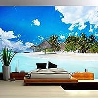 青い空白い雲3D海のビーチ壁画の壁紙リビングルームの寝室のテレビの背景壁画-200x140cm