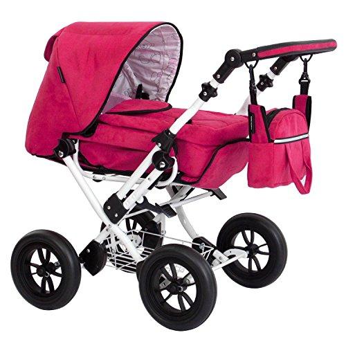 Zekiwa Kombipuppenwagen Zeki Limited Edition, hochmodischer Puppenwagen, mit Tragetasche und Fusssackfunktion, Anhängetasche inklusive, Dessin: Velourleder Purple