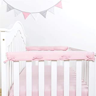 Padded Baby Crib Rail Cover Protector Surrounding Guardrail Guard Belt, 3 Pieces/Fabric Anti-collision Belt (Pink,2 short...