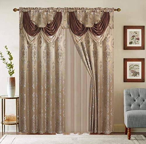 """LinenTopia Classical Jacquard Window Drape Set, 2 Panels with Attached Valance + Sheer Backing, Fancy Victorian Style Damask Curtain Drape for Living Rooms, (Leyla, 84"""",Taupe)"""