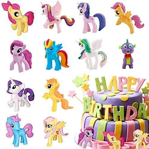 HONGECB Juego De Unicornio Para Tarta De Cumpleaños, Cake Topper Unicornio Decoración, Unicornio Cake Topper Figuras, para Cumpleaños Decoración de La Torta del Banquete de Boda, 12 piezas/set