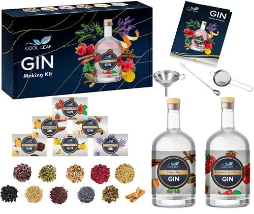 Cool Leaf Gin Making Kit – Perfect Gin Gift Set for Men & Women | 11 Botanicals to Make Your Own Craft Gin | Chocolate Orange, Raspberry & Hibiscus, Mango, Lavender & More