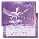 12Tarjetas de invitación divertido cumpleaños infantil (Unicornio del arco iris Wolke estrellas Tarjetas de corazón rosa rosa gris ingeniosamente Invitación Fiesta de cumpleaños