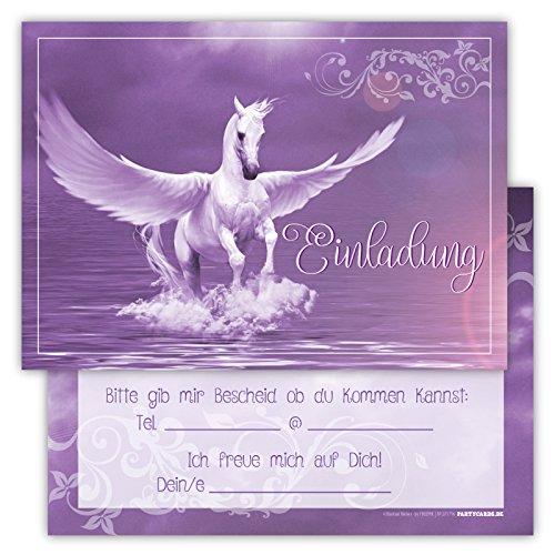 Lustige Einladungskarten für Kindergeburtstage für Jungen oder Mädchen (Pegasus im Wasser, 12 Stück im Kartenset)