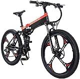RDJM Bici electrica Bicicleta Plegable eléctrico for Adultos, 27 de Velocidad de Bicicletas de montaña/Conmuten E-Bici con Motor de 400 W, magnesio liviano Marco de la aleación MTB Doble Suspensión