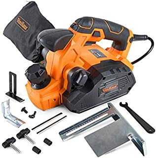 """VonHaus 7.5 Amp Electric Wood Hand Planer Kit with 3-1/4"""" Planing Width and Extra Set of Planer Replacement Wood Blades - Electric Door Planer"""