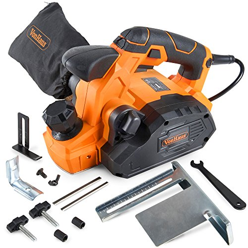 "VonHaus 7.5 Amp Electric Wood Hand Planer Kit with 3-1/4"" Planing Width and Extra Set of Planer Replacement Wood Blades - Electric Door Planer"