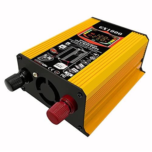 Convertidor de CA 500W Inversor de Corriente del Coche Transformador DC 12V a 220V Pico de Potencia 1000W con Pantalla LCD de Corriente/Voltaje 2 Puertos USB y 1 Toma de CA