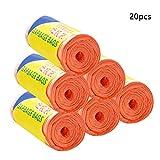 Cikonielf 20pcs/Roll Bolsas de Basura Planas Gruesas Fuertes de Gran tamaño Inodoro Punto de ruptura Basura Revestimiento de plástico Bolsa de Basura(Naranja)