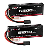HOOVO 7.4V 70C 6200mAh 2S Lipo Battery Hard Case with Tracxas Plug for RC Car RC Helicopter RC Truck RC Truggy Airplane Quadcopter UAV Drone FPV (2 Packs