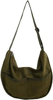 Ulisty Damen Grosse Kapazität Cord Schultertasche Retro Handtasche Mode Umhängetasche Tägliche Tasche Grün