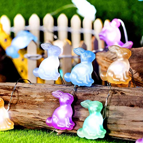 OUYA Easter Decoration Lights,20 LEDs String Light Battery Powered Warm White Fairy Light Rabbit Bunny Easter Decoration