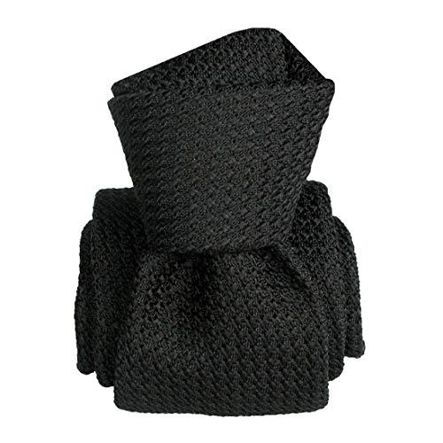 Segni et Disegni. Cravate grenadine de soie. Beverly, Soie. Noir, Uni. Fabriqué en Italie.