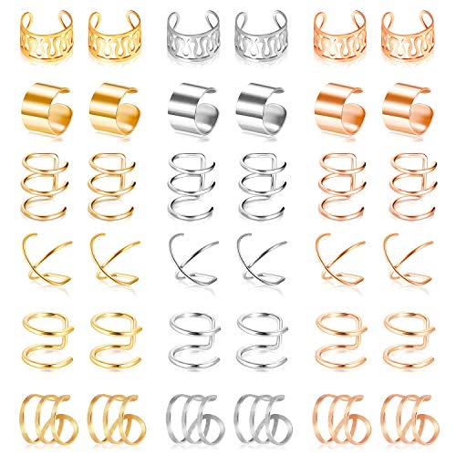 18 Pairs Ear Cuff, Roctee 6 Styles Cartilage Clip On Earrings Set Stainless Steel Ear Clip Fake Cartilage Earring Non Piercing Helix Cartilage Ear Clip (Gold/Silver/Rose)