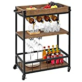 Kealive Bar Cart for Home Mobile Metal Wood Wine Cart on Wheels with Handle Rack, Glass Holder, 4 Hooker Removable Wood Box Container, Industrial Rustic Kitchen Cart