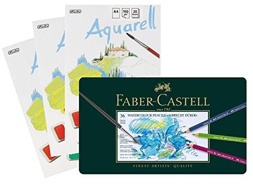 Faber-Castell 117536 - Aquarellstifte Albrecht Dürer, 36er Metalletui | mit 3 Aquarellblöcken