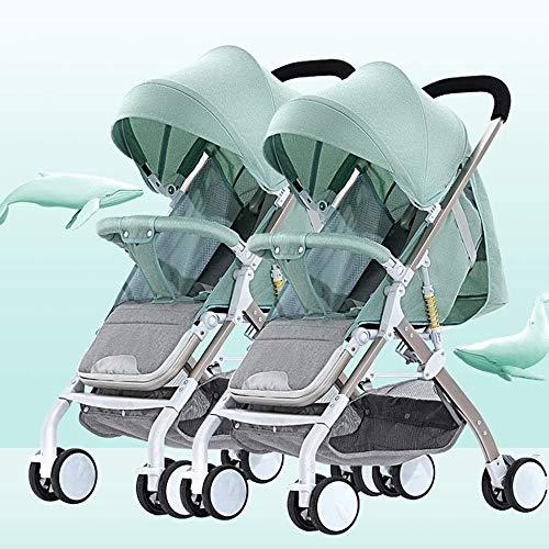 Pushchairs Tandem Opvouwbare kinderwagen Gemakkelijk opvouwbare Baby kinderwagen met zijdelingse Twin Seats Dubbele Peuter Baby Pram met Baby Basket Anti-Shock Springs Anti-Shock Baby Producten Groen