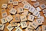LeSB 100pcs Cartas de la letra Cartas de madera Juegos de los azulejos de Scrabble del reemplazo para deletrear Scrapbooking