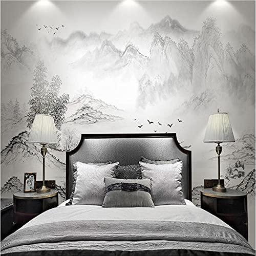 Inchiostro in stile cinese paesaggio carta da parati a mano libera carta da parati astratta soggiorno TV studio sfondo murale bambù in stile cinese-200cmx140cm