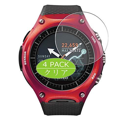 VacFun 4 Pezzi Trasparente Pellicola Protettiva per Smart Outdoor Watch WSD-F10 CASIO, Screen Protector Protective Film Senza Bolle e Auto-Curativo (Non Vetro Temperato)