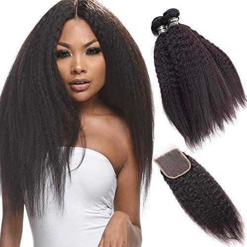 BLISSHAIR 9A Tissage Bresilien en lot avec Closure Yaki Rapide Naturel Les Mèches Bresiliennes Kinkycurly Hair 141414 +10 Pouce Lace Closure