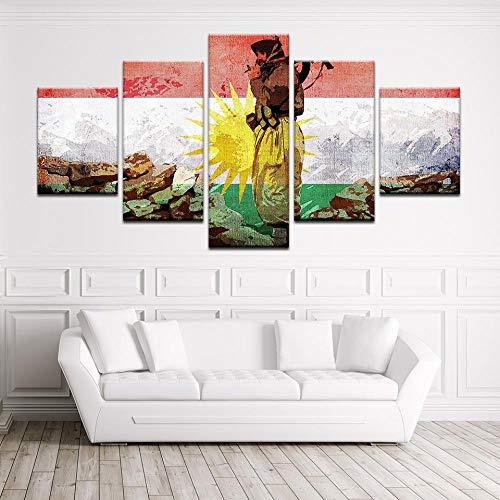 Modulaire muurschildering, muurstickers 5 stuks kunst afbeelding Koerdistan soldaat vlag HD print schilderij poster canvas schilderij poster woonkamer kamerdecoratie Valentijnsdag klein formaat