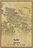 Afghanistan-Kabul-Karte, Wandkunst, Poster, Leinwanddruck,