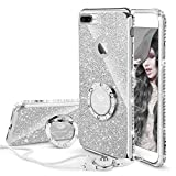 Cute iPhone 8 Plus Case, Cute iPhone 7 Plus Case, Glitter Luxury Bling Diamond Rhinestone Bumper with Ring Grip Kickstand Protective Thin Girly iPhone 8 Plus/ 7 Plus Case for Women Girl - Silver